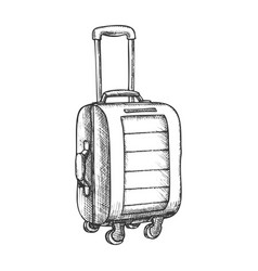 suitcase on wheels with handle vintage vector image