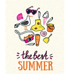 Summer card with hand drawn stylish lettering vector image
