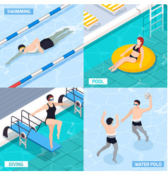 Swimming pool isometric concept icons set vector