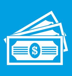 three dollar bills icon white vector image