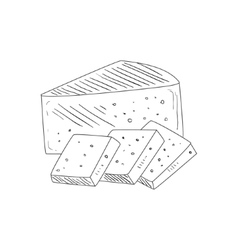 Triangle Piece Of Cheese And Wide Slices Hand vector image
