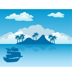 Tropical island and sailing nave vector image
