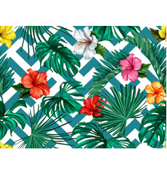 Tropical leaves hibiscus seamless pattern vector