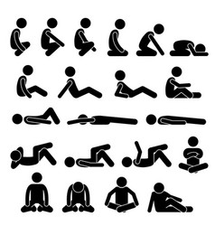 Various squatting sitting lying down on floor vector