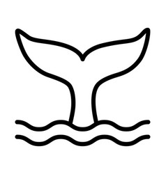 Whale tail or mermaid tail making waves line icon vector