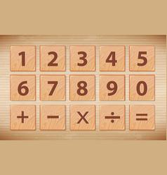 wooden number font symbol vector image