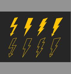 Yellow lightning bolt set collection vector
