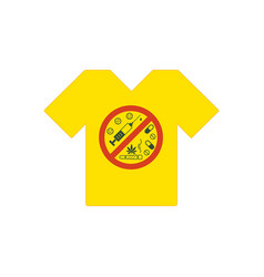 yellow tee shirt no drugs allowed drugs vector image