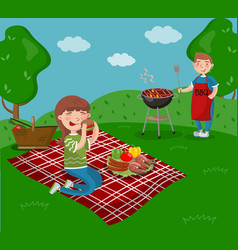 young happy couple cooking and eating bbq while vector image