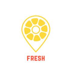 lemon icon like map pin vector image vector image