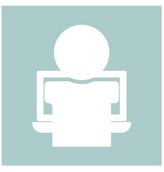 man on the notebook the white color icon vector image