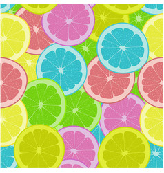 Pattern with colored citrus fruits vector