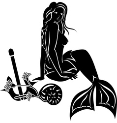 Sitting mermaid with long hair vector image vector image