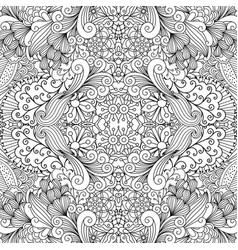 symmetric outline ornamental floral pattern vector image vector image
