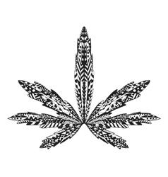 Zentangle stylized marijuana leaf Sketch for vector image vector image