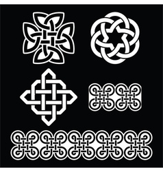 Celtic Irish white patterns and knots vector image vector image