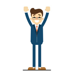 Happy businessman with hands up gesture vector
