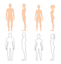 man and woman silhouette set vector image