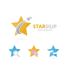 set of star logo combination leader and airplane vector image vector image