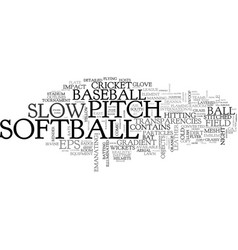 slow-pitch word cloud concept vector image
