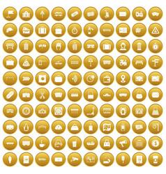 100 railway icons set gold vector