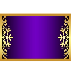 Floral purple and gold frame vector