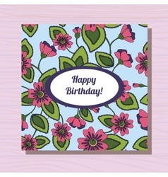 Happy birthday card on wooden background vector image vector image