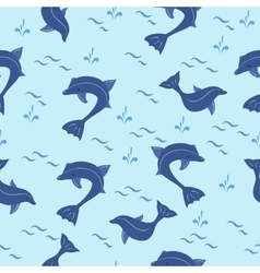 Seamless pattern with cartoon blue dolphins vector image vector image