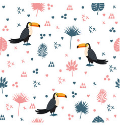 seamless pattern with toucan and leaves cute vector image vector image