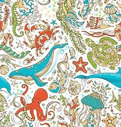 seamless wild sea life pattern vector image vector image