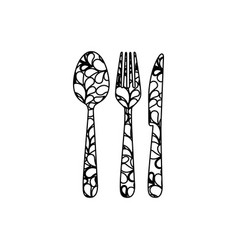 silhouette cutlery printed floral design vector image