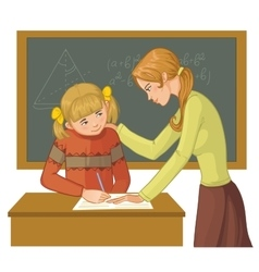 Teacher helps a girl in classroom vector image vector image