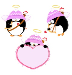 Cupid Penguin Set vector image