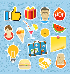 different mobile or web application stickers set vector image