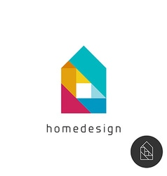 House design concept colorful rainbow geometric vector