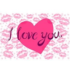 Lipstick kiss in heart shape vector image