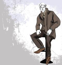Sketch fashion handsome business man vector image