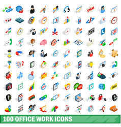 100 office work icons set isometric 3d style vector image