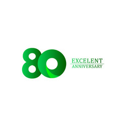 80 years excellent anniversary celebration green vector