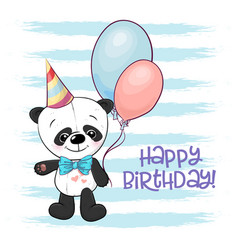 a cute cartoon panda with balloons vector image