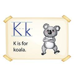 A letter k for koala vector