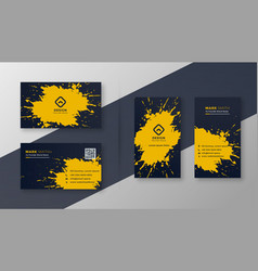 Abstract business card set with yellow splatter vector