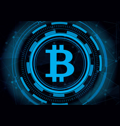 abstract technology bitcoin with digital line vector image