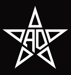 Ad logo monogram with star shape design template vector