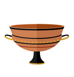 Ancient greece clay cylix wine cup antiquity vector