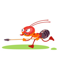 Ant soldier character in a fighting pose screams vector