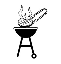 Barbecue grill with meat and tongs vector