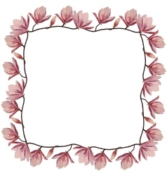 Beautiful corner frame with pink magnolia flowers vector