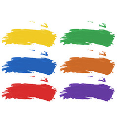 brush strokes in six color of acrylic paints vector image