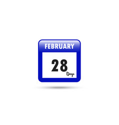 calendar icon 28 days in february vector image
